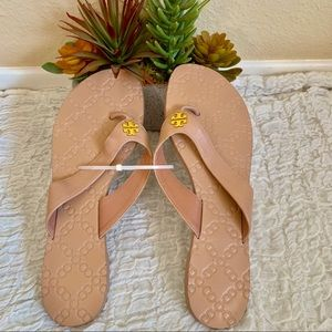 Tory Burch Tan Thora flip flops